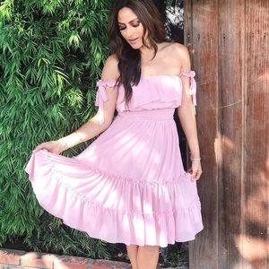OTS pink ruffle dress